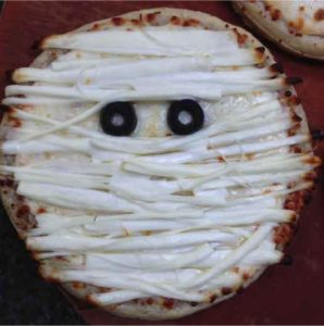 pizza toppings decorated to look like a mummy