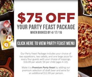 $75 off party feast package