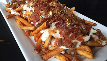 loaded fried with bacon and cheese