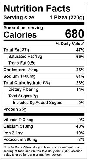Nutrition Facts for 6