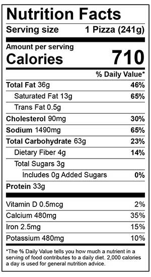 Nutrition Facts for 6 inch sausage pizza