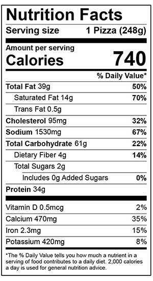 Nutrition Facts for 6 inch sausage and pepperoni pizza