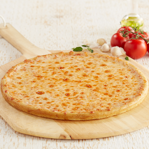 Classic Cheese Pizza on serving block