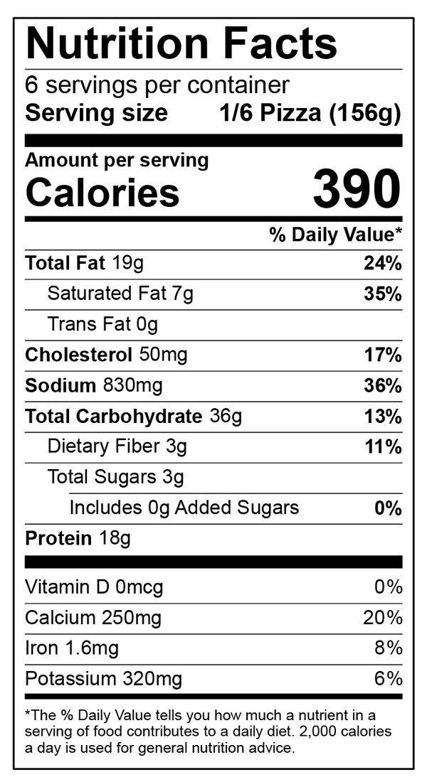 Nutritional Facts of 12 Inch Home Run Inn Classic Sausage Supreme Frozen Pizza