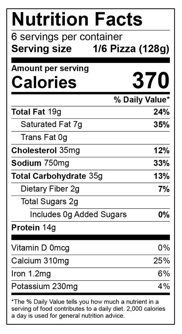 Nutrition facts for classic 12