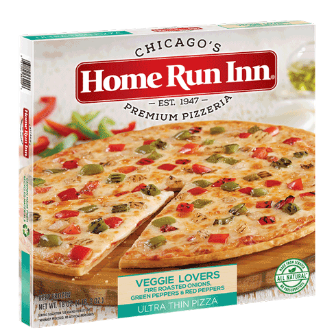 Frozen HRI Ultra Thin Veggie Lovers Pizza with Fire Roasted Onions, Green Peppers, and Red Peppers