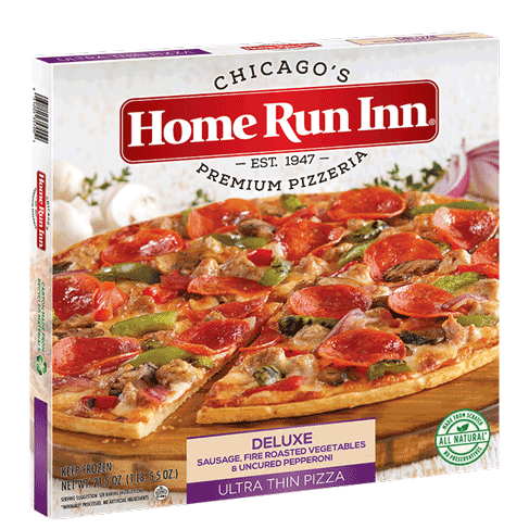 Frozen HRI Ultra Thin Deluxe Pizza with Sausage, Fire Roasted Vegetables, and Uncured Pepperoni