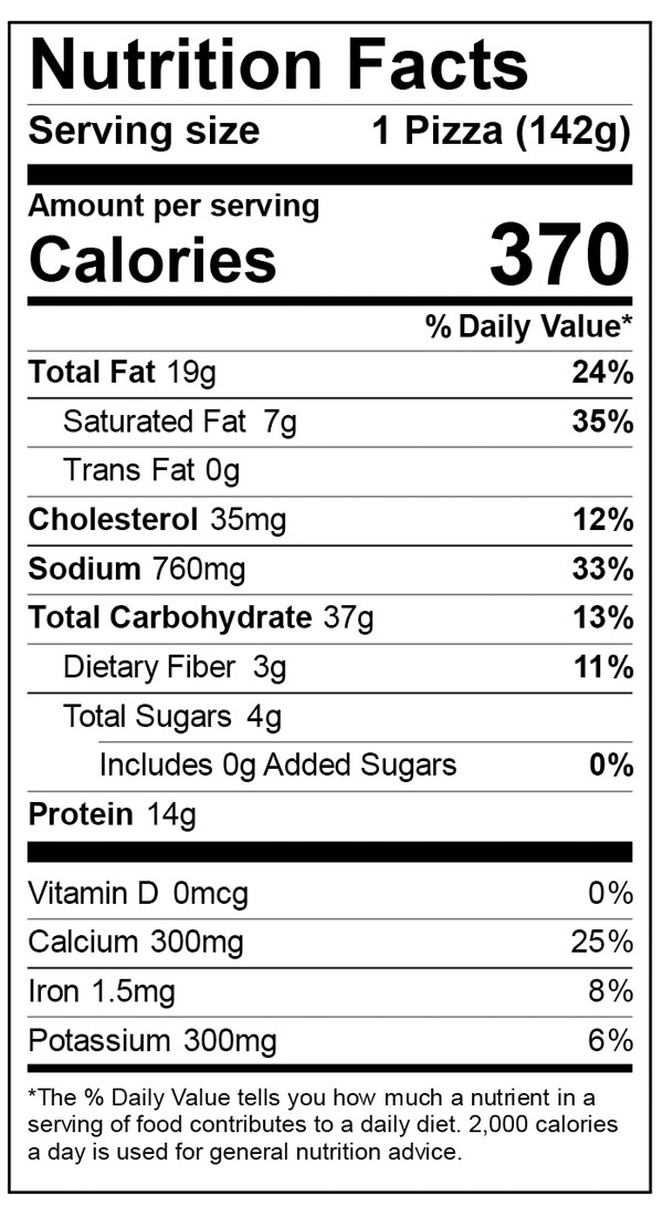 Nutritional Facts for 6 inch Home Run Inn Ultra Thin Veggie Lovers Frozen Pizza