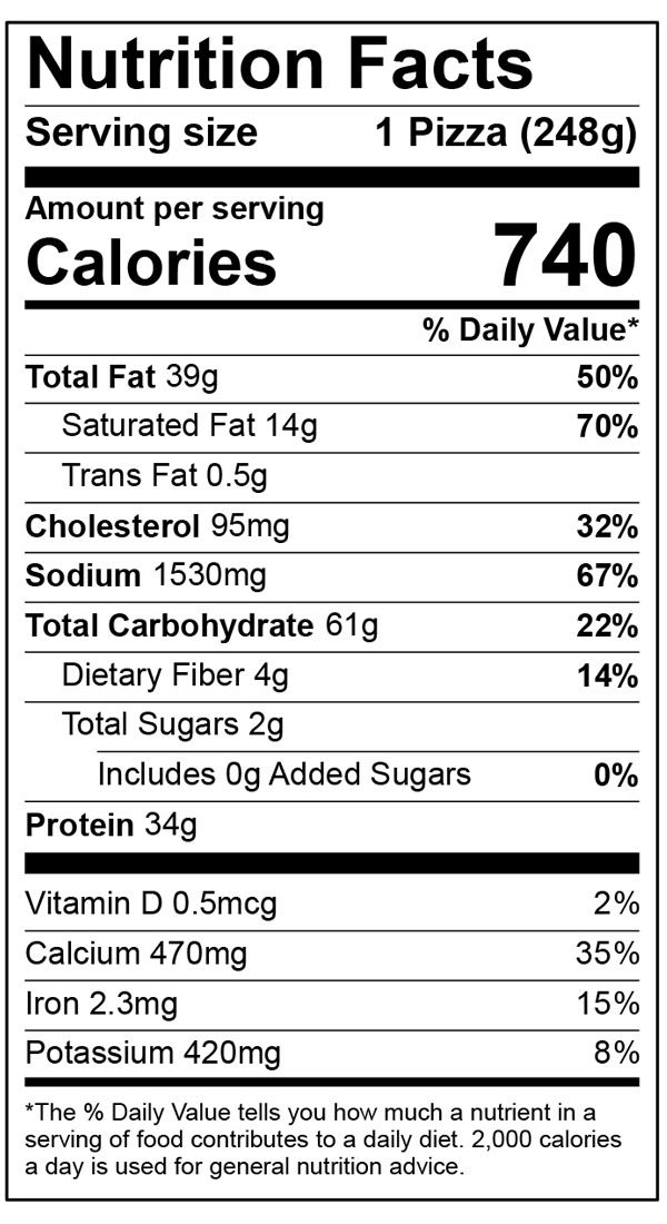 Nutritional Facts 6 Inch Home Run Inn Classic Sausage & Pepperoni Frozen Pizza