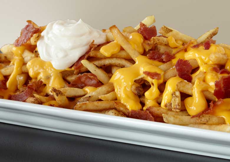 Super Fries: French Fries covered in Cheese sauce, bacon, and sour cream