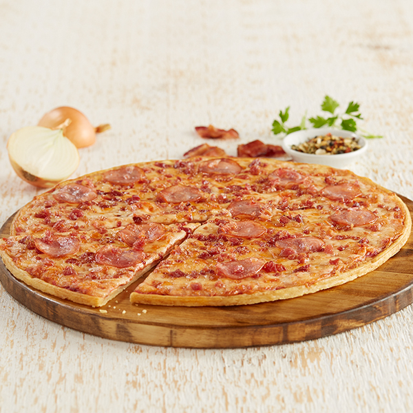 Home Run Inn Pizza Ultra Thin Bacon Lovers Pizza on Serving Plate