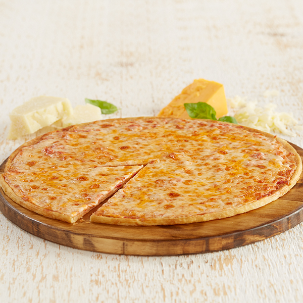 Ultra Thin Four Cheese Pizza on Serving Plate