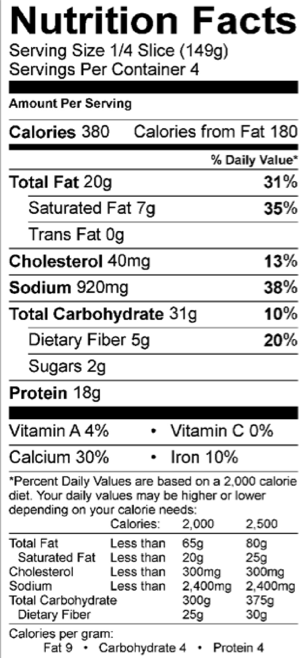 Nutrition Facts for 12 Inch Home Run Inn Ultra Thin Bacon Lovers Pizza
