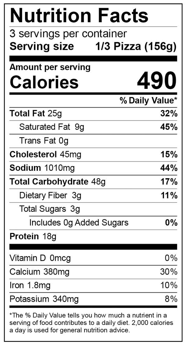 Nutrition Facts for Ultra Thin Cheese Pizza