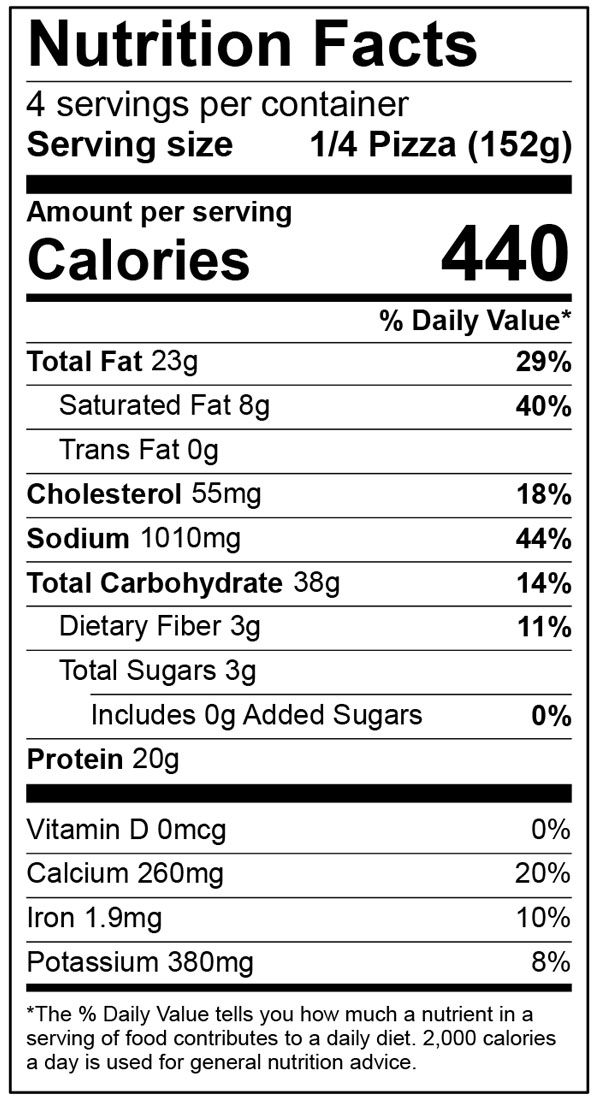 Nutritional Facts 12 Inch Home Run Inn Ultra Thin Deluxe Frozen Pizza