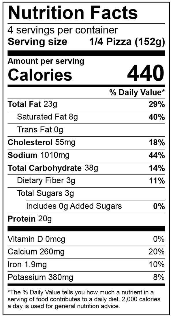 Nutrition Facts for Ultra Thin Deluxe
