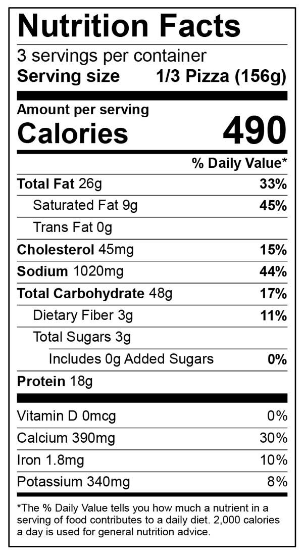 Nutrition Facts for Ultra Thin four Cheese pizza