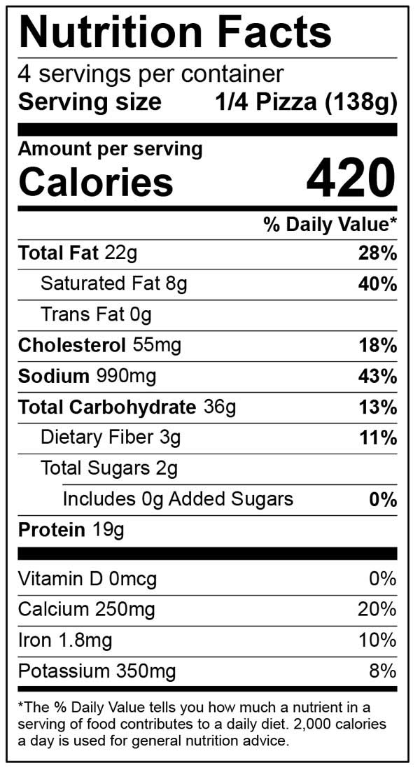 Nutrition Facts for ultra thin sausage pepperoni pizza