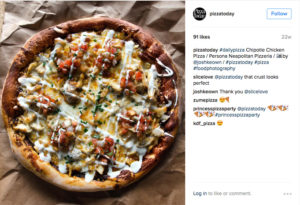instagram post of pizza with ranch drizzled on pizza