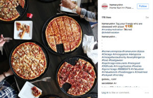 hri instagram post of variety of pizzas on a table