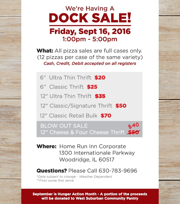 Support Hunger Month at the Home Run Inn Dock Sale