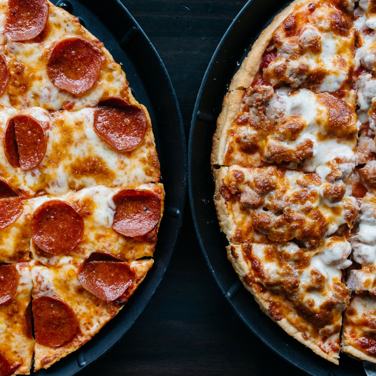 hri pepperoni pizza and sausage pizza