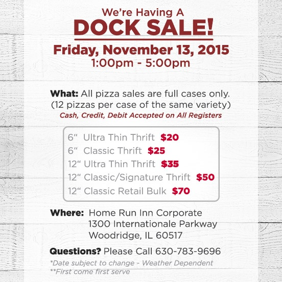 Home Run Inn DOCK SALE this Friday