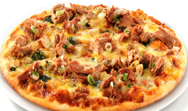 pizza recipe with chicken, green onion, and pulled pork