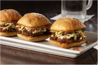 3 slider sandwiches on a plate