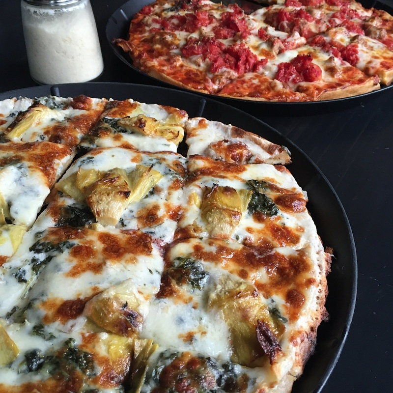 Grilled Artichoke, Roasted Garlic and Spinach pizza