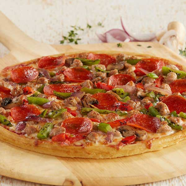 """12"""" Signature Deluxe Pizza with pepperoni, green peppers, sausage, and onions"""