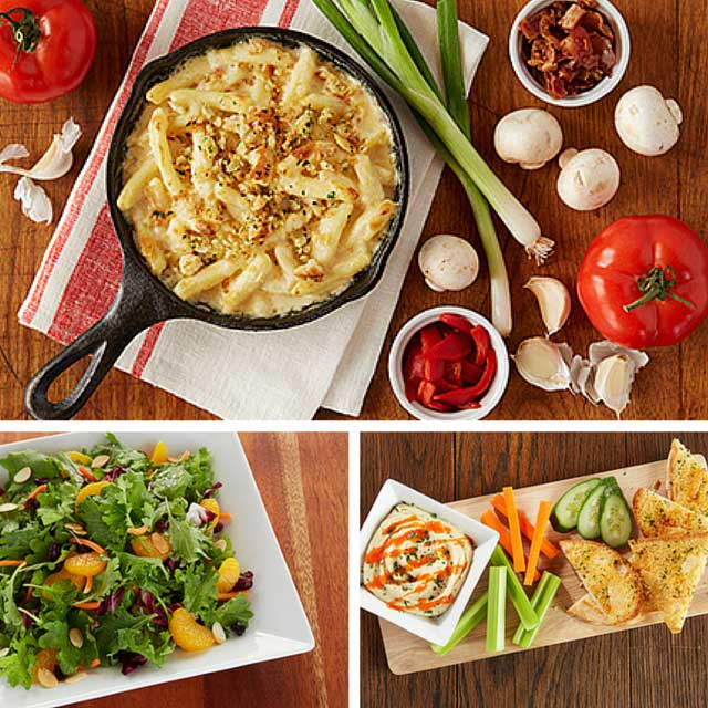 collage of macaroni and cheese, salad, and hummus