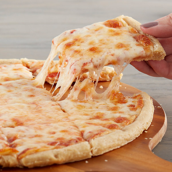 Baked cheese pizza with cheese pull