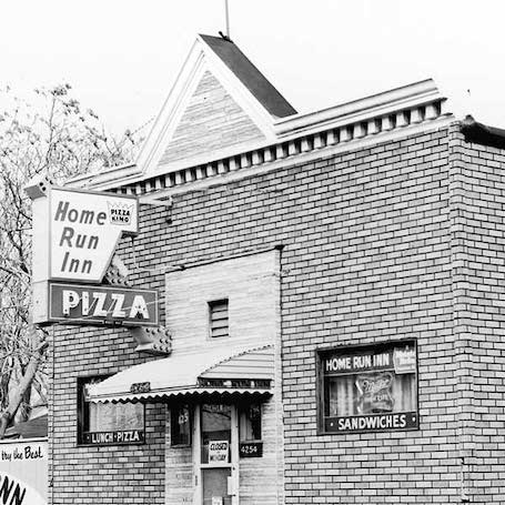 Vintage Black and White picture of the first Home Run Inn tavern from the 1950s